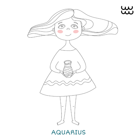 funny horoscope for girls. cute girl in the form of zodiac sign. outline drawing in cartoon style. Aquarius Çizim