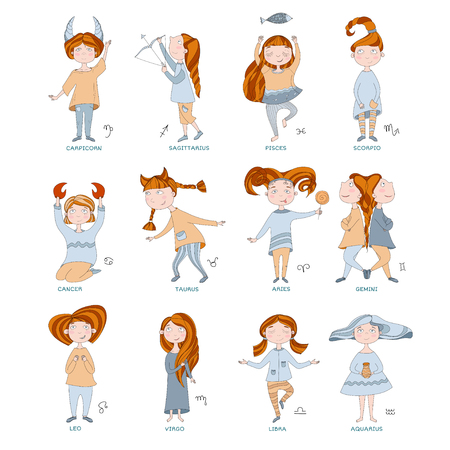 funny horoscope for girls. cute girls in the form of zodiac signs. outline drawing in cartoon style. 12 zodiac signs.