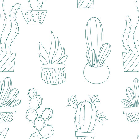 Vector Seamless Pattern with Cactus Illustration