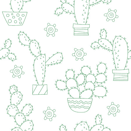 Vector Seamless Pattern with Cactus Çizim