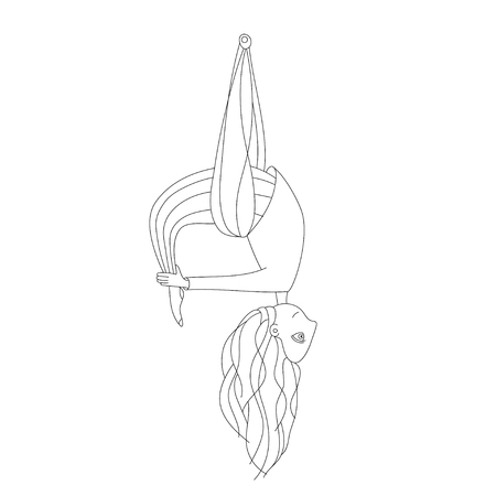 illustration of a cute girl doing aerial yoga. flying yoga kids Illustration
