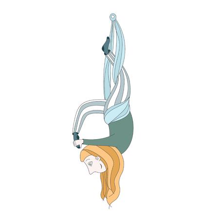 illustration of a cute girl doing aerial yoga. flying yoga kids Çizim