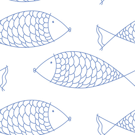 summer vector seamless pattern with fishes. texture