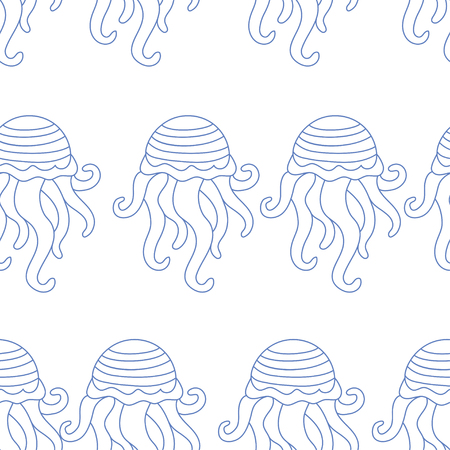 summer vector seamless pattern. octopus texture