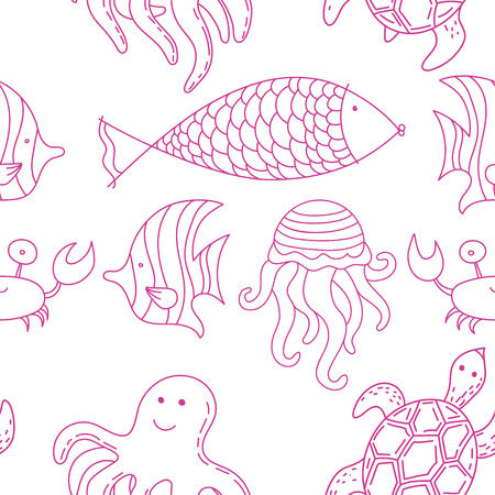 summer vector seamless pattern with sea creatures Çizim