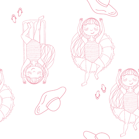 summer vector seamless pattern with girl