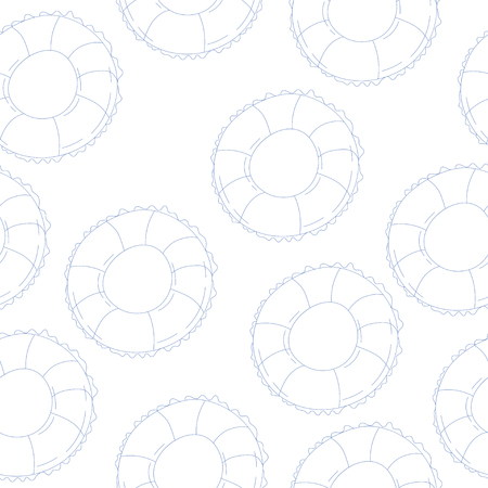 vector seamless pattern with swim ring. texture Illustration