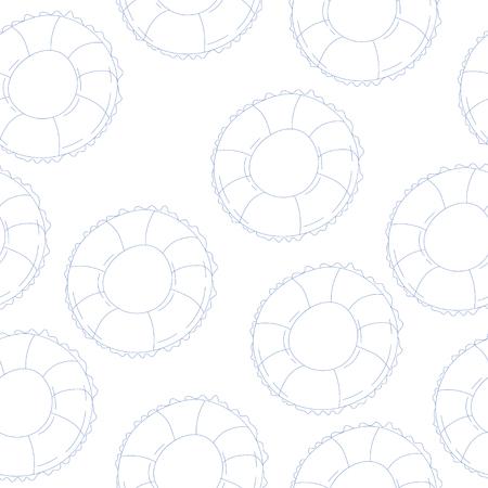 vector seamless pattern with swim ring. texture Çizim