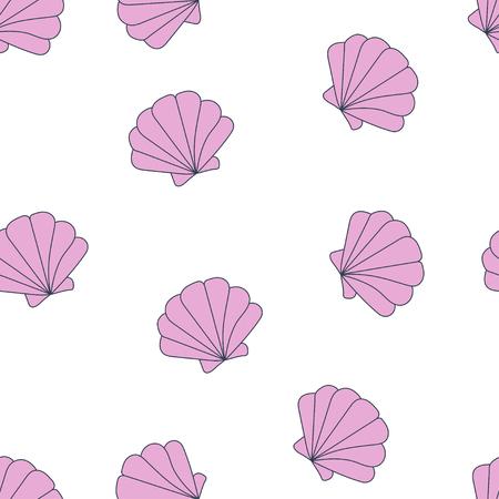 Summer vector seamless pattern. seashells pattern