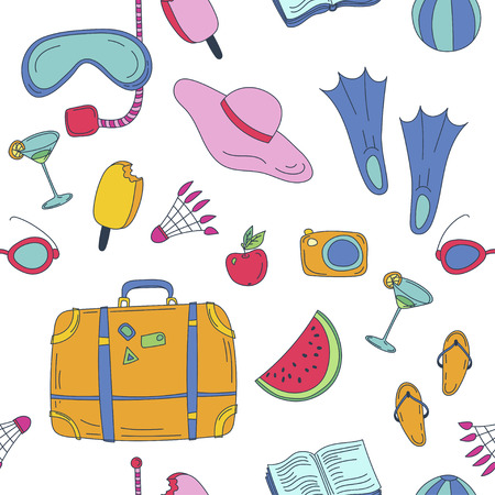 summer vector leamless pattern with travel things