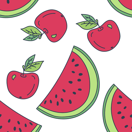 summer vector seamless pattern with watermelon and apple