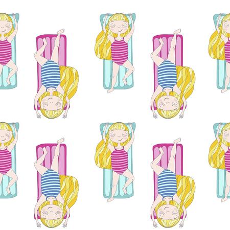 summer vector seamless pattern with cute girl on mattress