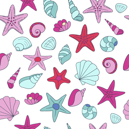 summer vector seamless pattern with seashells. texture