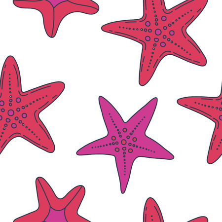 summer vector seamless pattern with starfish, asteroid, five-finger