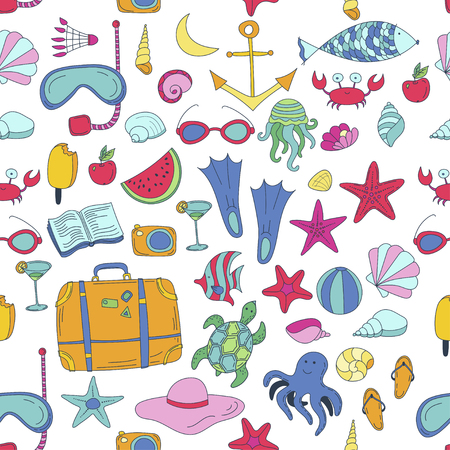 summer vector seamless pattern with travel things Çizim