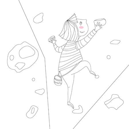 vector illustration of climbing little cute girl 일러스트