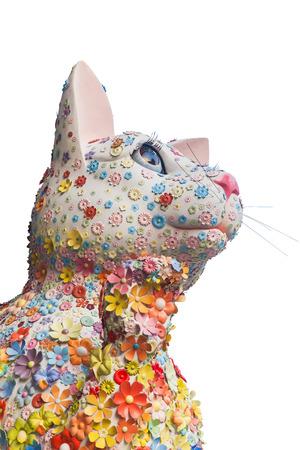maneki: Lucky Cat - Maneki Neko with flower Stock Photo