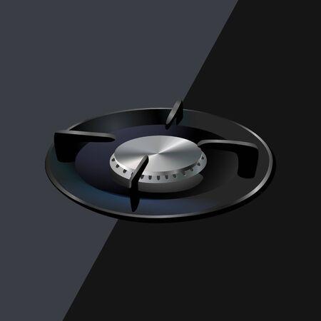 Modern gas burner, black steel grate. Kitchen off gas burner. Realistic burner propane butane oven element for cooking isolated on black ceramic background. 3d kitchen appliance. Vector illustration. Vetores
