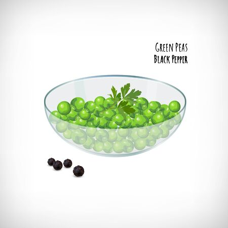Green peas, parsley leaf in the transparent glass bowl, whole black pepper in flat style. Vector hand drawn vegetable organic products. Lettering Green Peas, Black Pepper. Vector illustration.