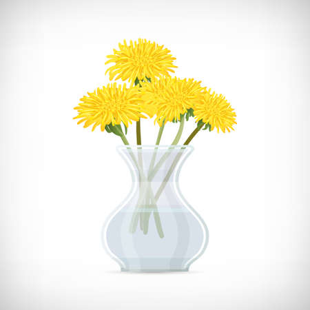 Transparent vase with yellow flowers. Decorative glass container for plants, flowers on white background. Dandelione flower in classic vase for interior designs. Flat style. Vector illustration.