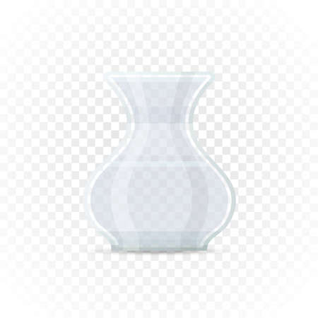 Empty transparent vase. Decorative glass container for plants, flowers on transparent background. Flat style element for interior designs. Vector illustration. 矢量图像