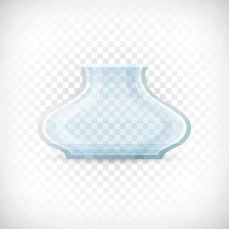Empty transparent classical glass vase. Glass container icon in flat style for web interior designs. Vector illustration on transparent background. Illustration