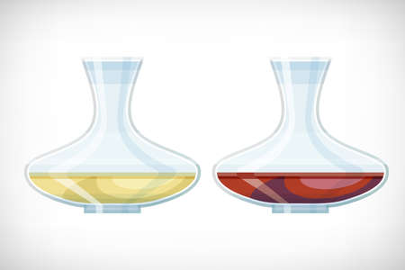 Set of transparent classical glass decanter with white, red wine. Glass vase icon in flat style for web interior designs. Transparent container for liquids. Vector illustration on vignette background.