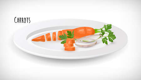 Vector whole, sliced, chopped carrot, green leaves, onion rings, parsley leaf on white plate in flat style. Vegetable organic bio farm product. Carrots lettering. Carrot vegetable hand drawn image. Illustration
