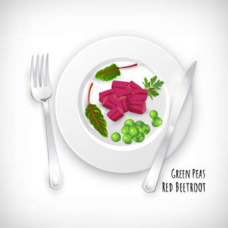 Chopped beetroot and green peas with parsley. Fork, knife on white plate in flat style. Vegetable organic bio farm product. Lettering Red Beetroot, Green Peas. Hand drawn image. Vector illustration.