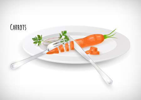 Whole, sliced, chopped carrots with fork, knife, onion rings, on white plate in flat style. Vegetable organic eco bio farm product. Lettering Carrots. Carrot hand drawn image. Vector illustration. Banque d'images