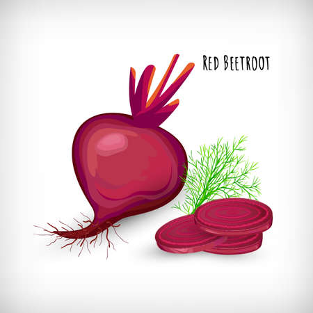 Whole, sliced red beetroot plant isolated on white background. Healthy diet vegetarian food. Salad ingredient in flat style. Lettering Red Beetroot. Vector illustration.