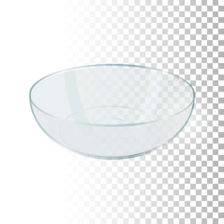 3d empty transparent bowl. Side view food container on transparent background. Realistic element for designs in kitchen theme. Vector illustration. Illustration