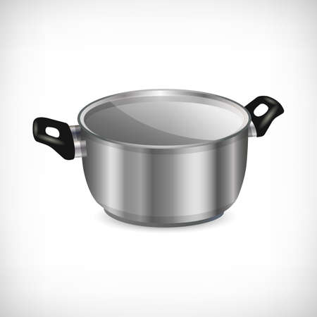 3d stainless non-stick pot isolated on white background. Flat style metal pan with handles. Kitchen utensil icon. Element for culinary theme design. Vector illustration. Illustration