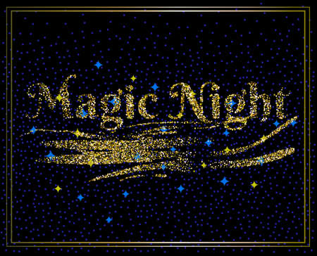 Invitation card. Holiday theme banner with golden effect sign and stars on black background. Text Magic Night. Vector illustration.