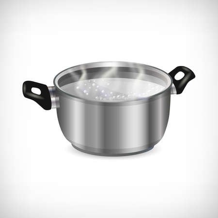3d stainless pot, boiling liquid and transparent steam isolated on white background. Flat style metal pan with handles. Kitchen utensil icon. Element for culinary theme design. Vector illustration. Illustration