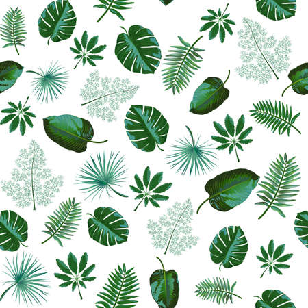 Seamless pattern with green tropical exotic leaves on white background. Vector Illustration for fabric, wallpaper. wrapping paper, print, web designs. Banque d'images