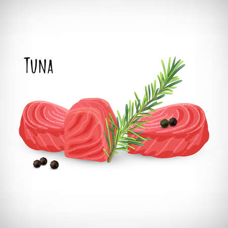 Tuna meat cubes in flat style, rosemary twig, black peppercorns. Organic eco fish product. Lettering Tuna. Hand drawn elements for culinary designs. Vector illustration on white background.