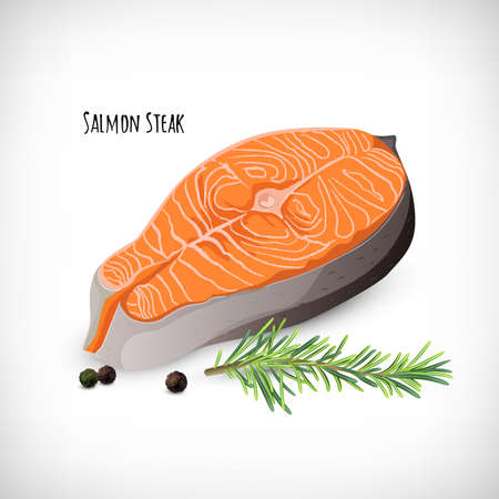 Salmon steak in flat style, rosemary twig, black peppercorns. Organic eco fish product. Lettering Salmon Steak. Elements for culinary designs. Vector illustration on white background.