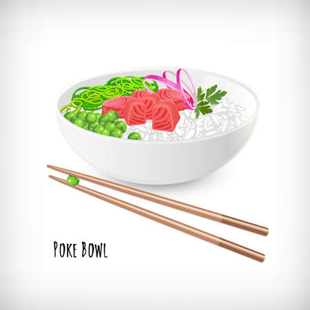 White round poke bowl with tuna fish cubes, rice, onion rings, green peas, seaweed, parsley, wooden food chopsticks on white background. Trend Hawaiian food. Lettering Poke Bowl. Vector illustration. Illustration