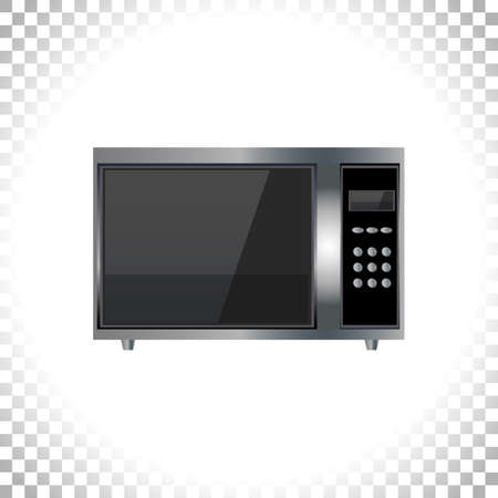 Modern microwave icon. Front view. Metal and black glass. Microwave image isolated on transparent background. Element for web designs. Vector illustration.