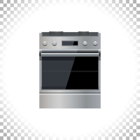 Kitchen stove icon. Modern cooker with oven. Home appliance concept. Front view. Metal and black glass. Silver stove isolated on transparent background. Vector illustration.