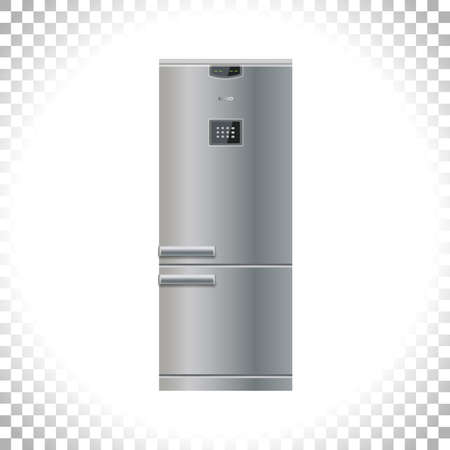 Modern Fridge Freezer refrigerator icon. Silver color. Front view. Metal and black plastic materials. Digital display and keypad panel. Household tech and appliances. Vector illustration.