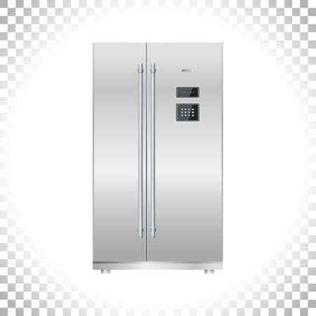 Fridge or Freezer refrigerator icon. Two doors. Silver double door fridge. Metal and black plastic materials. Digital display and keypad panel. Household tech and appliances. Vector illustration.