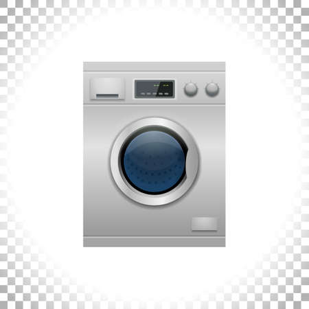 Vector illustration. Smart washing-machine with front-loading clothes isolated on transparent background. Home appliance concept. Front view. Digital display. Silver color.
