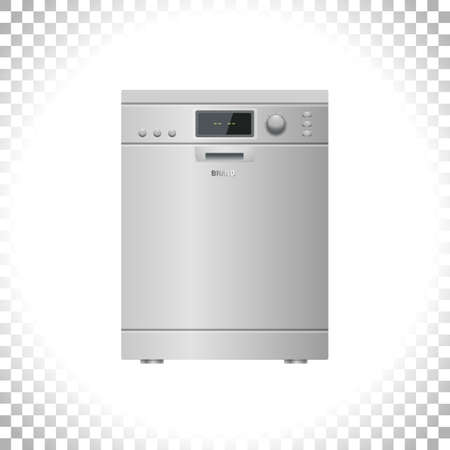 Smart dishwashing machine isolated on transparent background. Smart home appliance concept. Front view. Digital display. Silver color. Element for interior designs. Vector illustration.