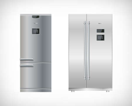 Set of kitchen electrical appliances. Silver refrigerator, freezer, fridge. Simple model and double door. Digital display and keypad panel. Household tech elements. Vector illustration.