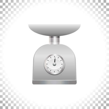 Silver weight scale on transparent background. Weighing scales with pan and dial for weight measurement. Kitchen utensil or measuring instrument. Element for interior design. Vector illustration.