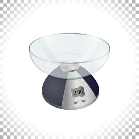 3d silver weight scale on transparent background. Digital weighing scales for weight measurement. Kitchen utensil or measuring instrument. Element for interior design. Vector illustration.