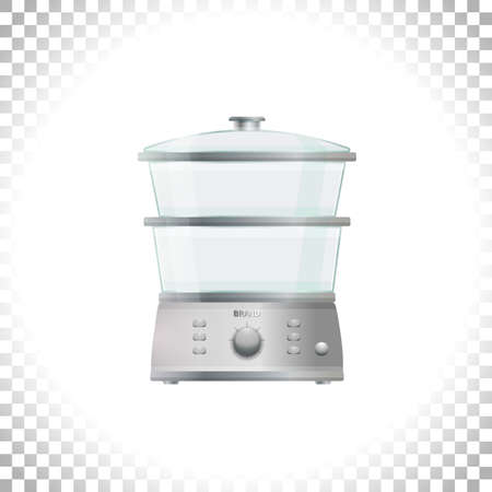 Electric food steamer or double boiler. Front view. Household appliance. Kitchen steam cooker on transparent background. Element for interior designs. Vector illustration. Illustration
