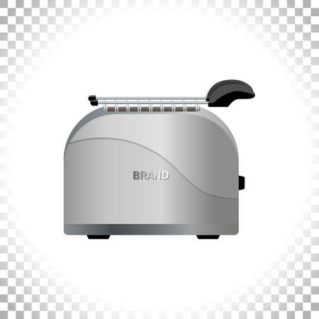 Silver metal glossy toaster on transparent background. Front view. Kitchen utensil and electrical household appliance. Element for interior designs. Vector illustration.